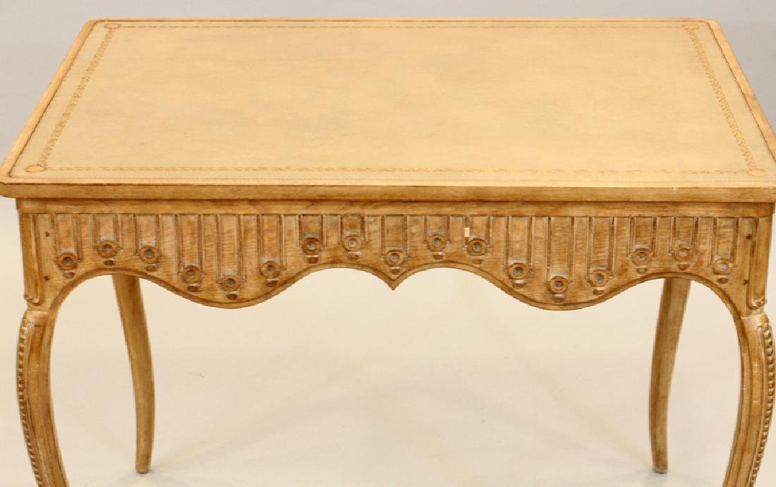 CARVED PICKLED WOOD CARD TABLE - 2