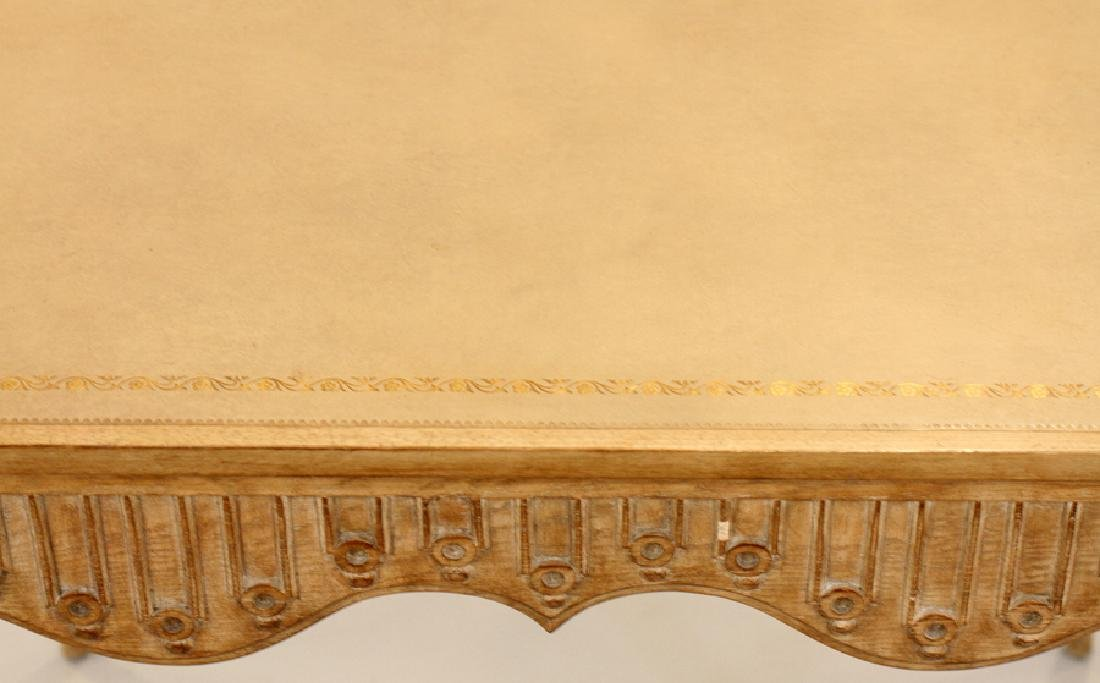 CARVED PICKLED WOOD CARD TABLE - 3