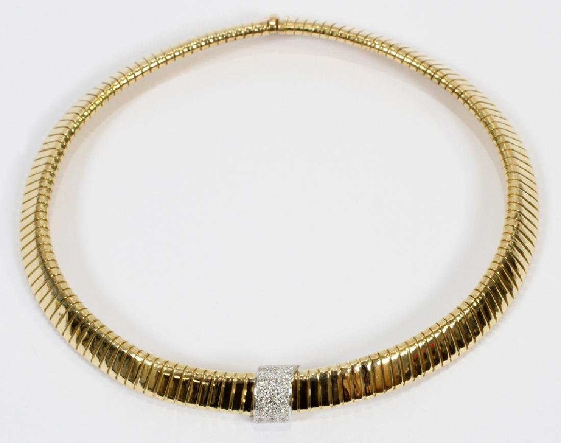 0.70CT DIAMOND, 18KT GOLD ACCORDION NECKLACE