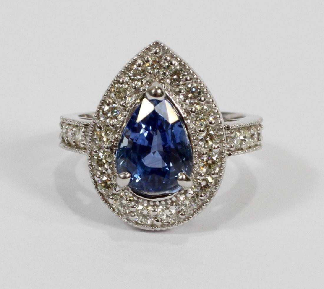 3.73CT NATURAL SAPPHIRE & DIAMOND, WHITE GOLD RING