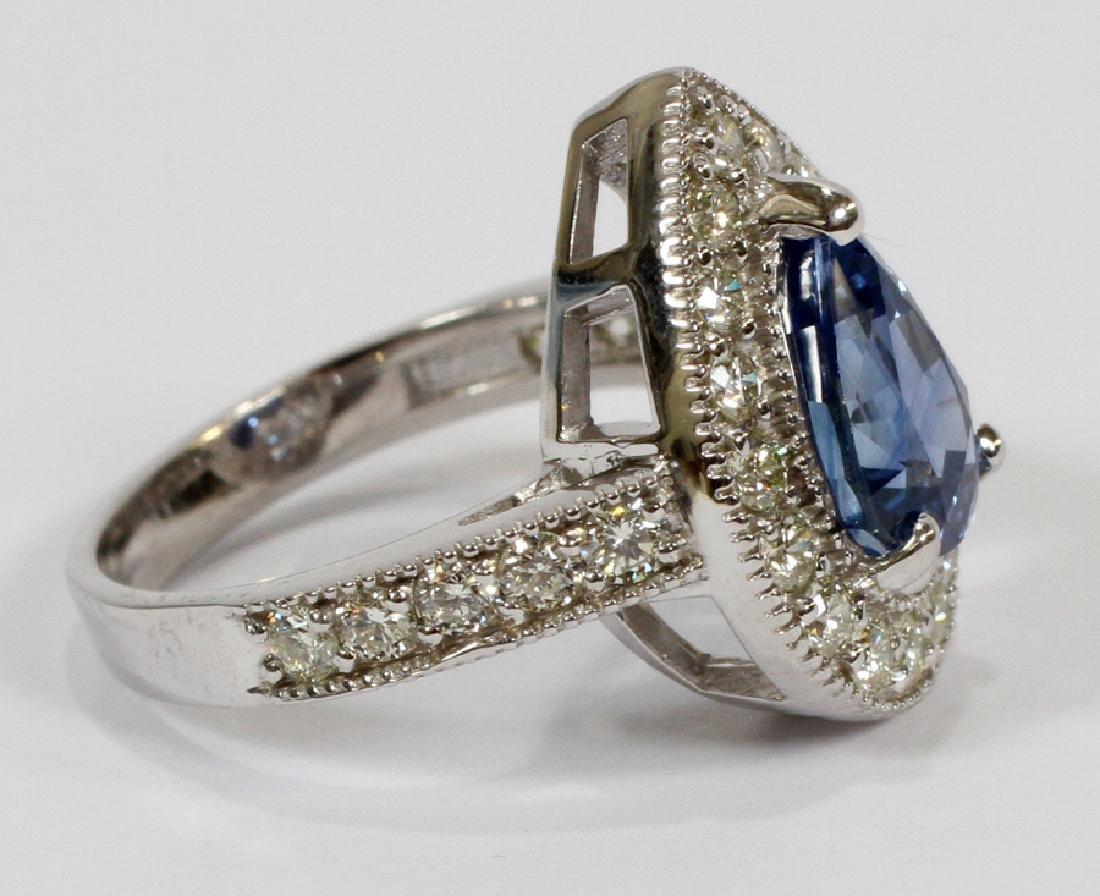 3.73CT NATURAL SAPPHIRE & DIAMOND, WHITE GOLD RING - 2