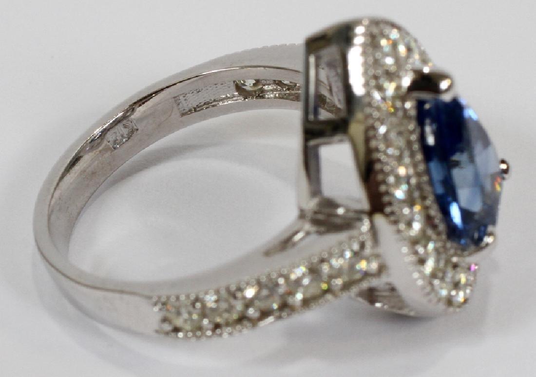 3.73CT NATURAL SAPPHIRE & DIAMOND, WHITE GOLD RING - 3