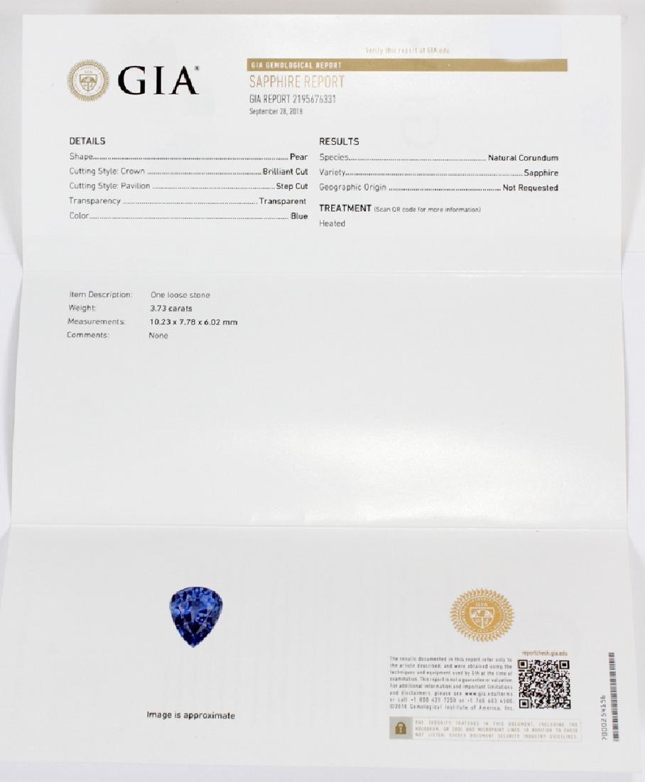 3.73CT NATURAL SAPPHIRE & DIAMOND, WHITE GOLD RING - 4