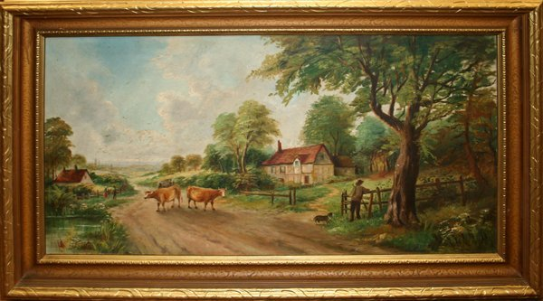 "090007: SIGNED OIL ON CANVAS, 22""x43"", PASTORAL SCENE"