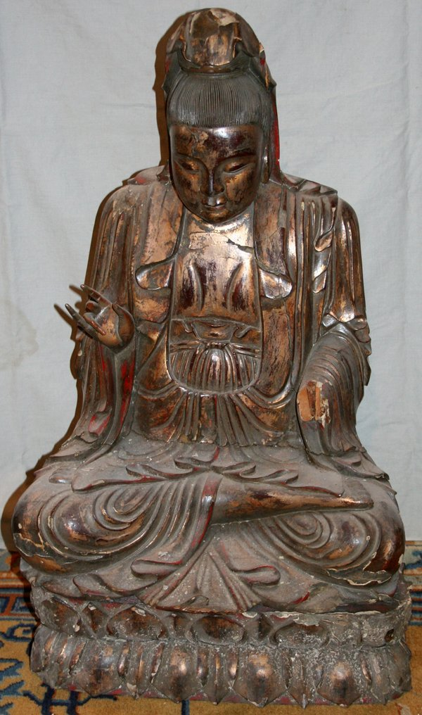 090049: CHINESE PAINTED WOOD SCULPTURE OF BUDDHA