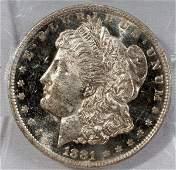 090383: US MORGAN SILVER DOLLAR, MS-65, 1881-O