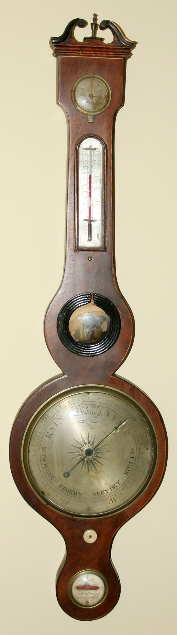 091007: SCOTTISH MAHOGANY BAROMETER L. TILLY 18TH C.