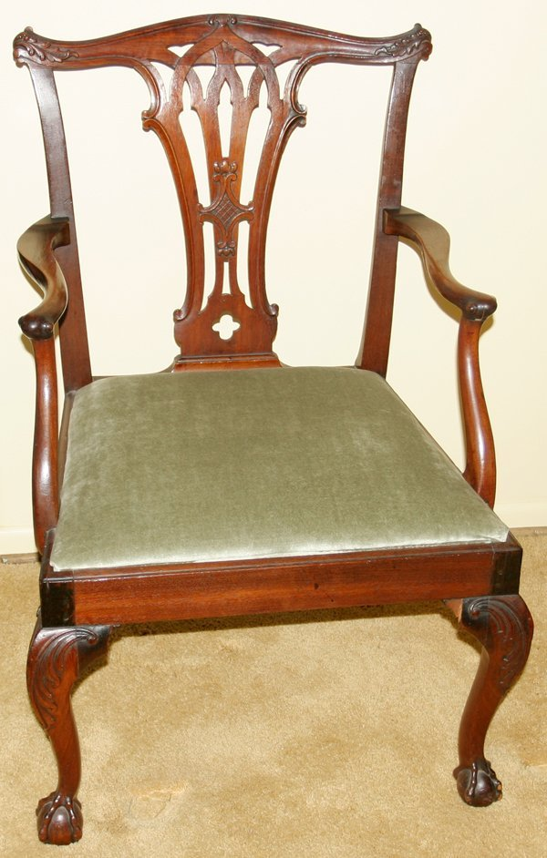 091008: CHIPPENDALE MAHOGANY ARMCHAIR, 18TH C.