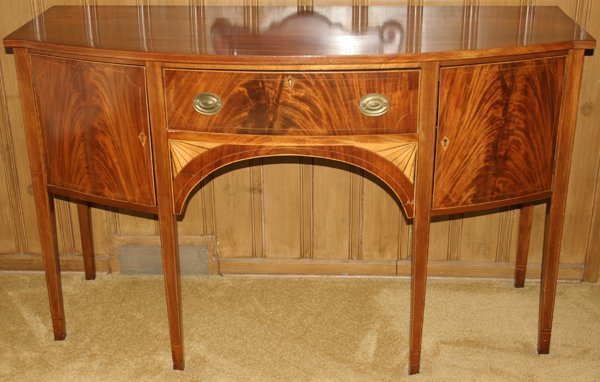 091009: HEPPLEWHITE MAHOGANY SIDEBOARD W/SATINWOOD