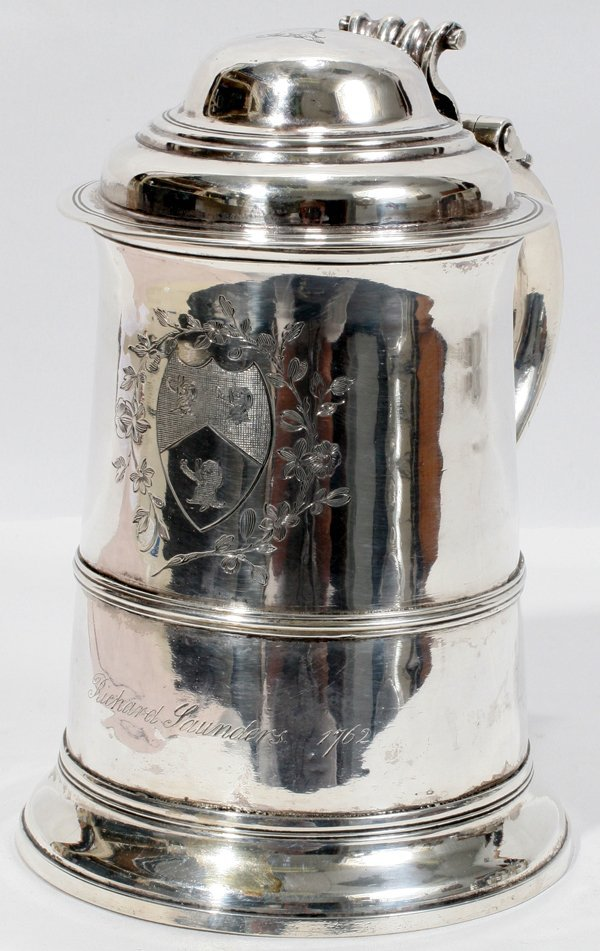 091012: WILLIAM SHAW, GEORGIAN STERLING TANKARD 7""