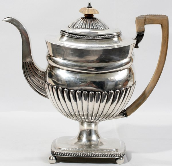 091013: GEORGE III STERLING COFFEE POT, BATEMAN