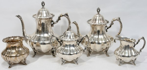 091018: POOLE LANCASTER ROSE STERLING TEA/COFFEE SET