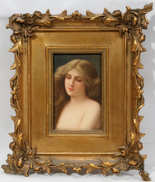 091020: GERMAN HAND-PAINTED PORCELAIN PLAQUE, SIGNED