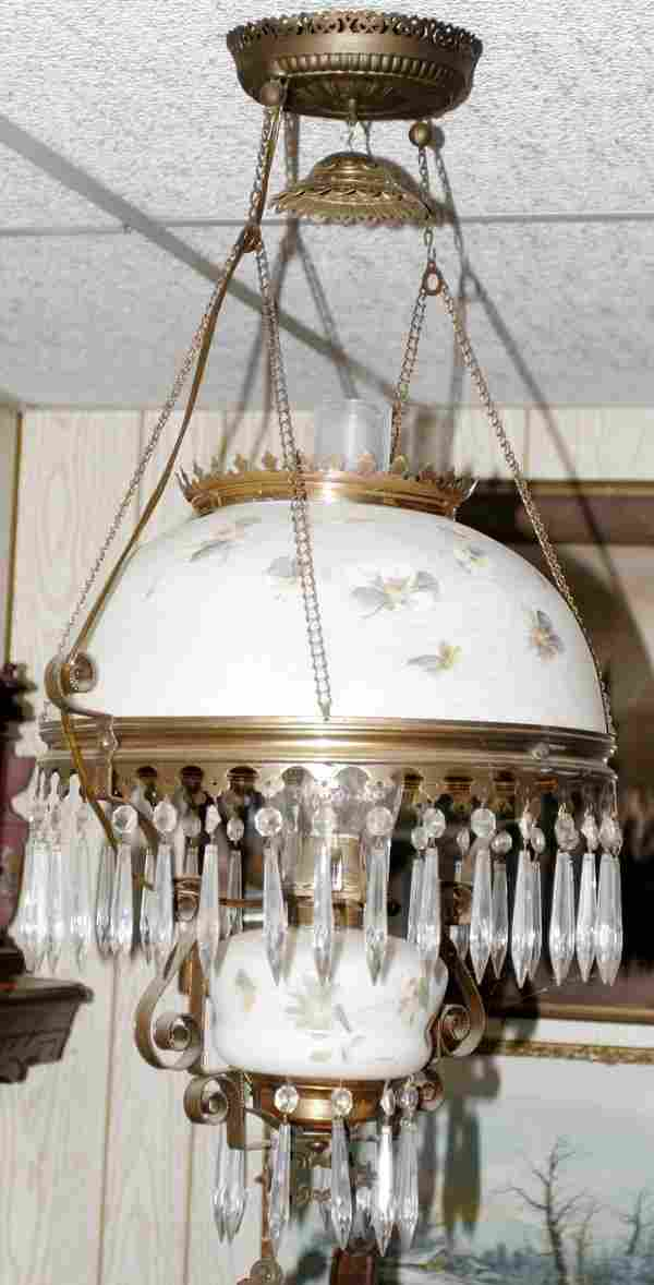BRASS-PLATED METAL & GLASS HANGING LAMP