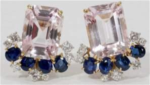 092051 CARTIER LADYS DIAMOND  SAPPHIRE EARRINGS