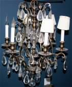 092307 BRASS  CRYSTAL CHANDELIER MID 20TH C H22