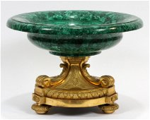 FRENCH MALACHITE WITH BRONZE MOUNT COMPOTE