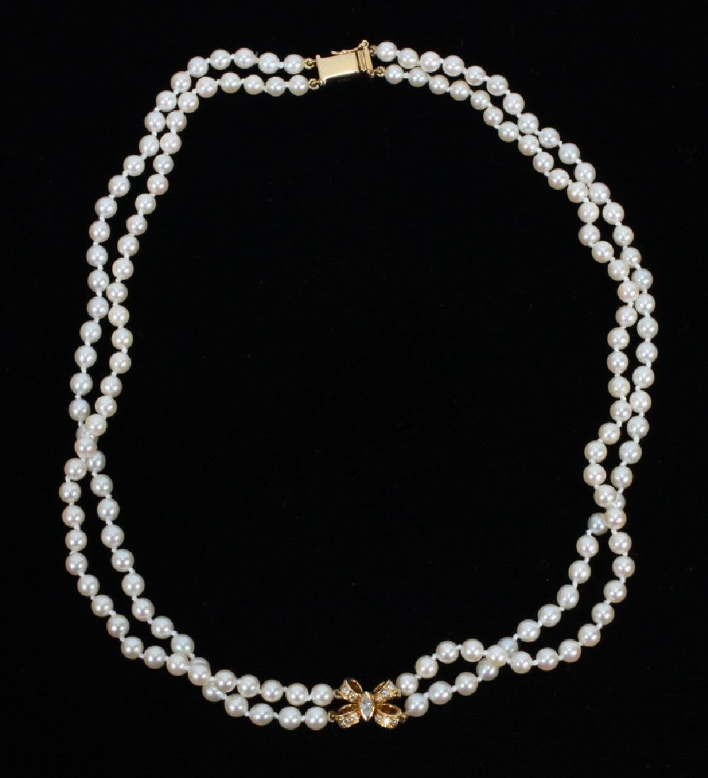 CARTIER YELLOW GOLD DOUBLE STAND PEARL NECKLACE