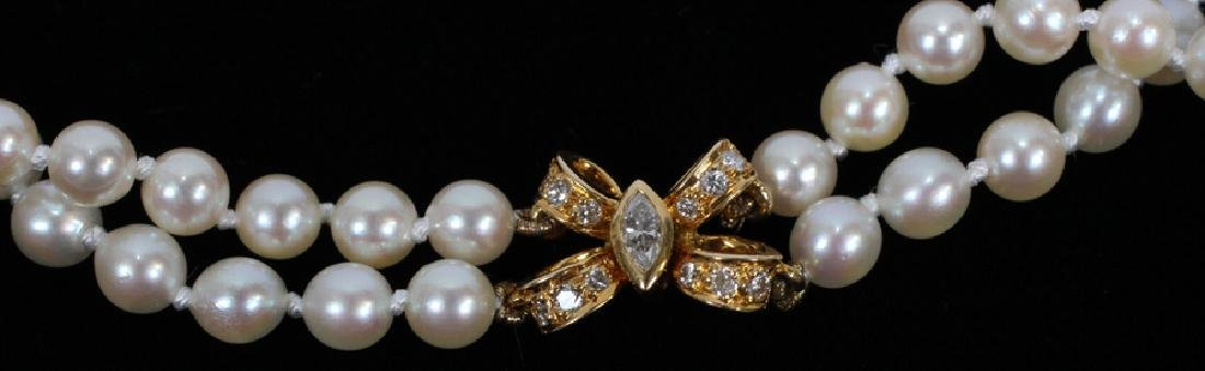 CARTIER YELLOW GOLD DOUBLE STAND PEARL NECKLACE - 2