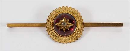 STAR FORM 9 KT DIAMOND  GARNET BAR BROOCH 19TH