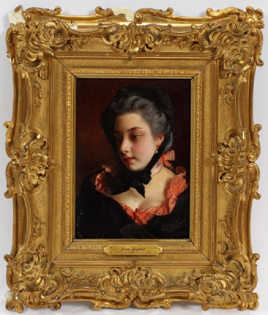 GUSTAVE JEAN JACQUET OIL ON MAHOGANY PANEL