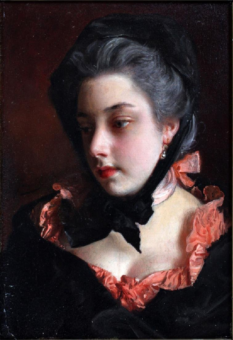GUSTAVE JEAN JACQUET OIL ON MAHOGANY PANEL - 2