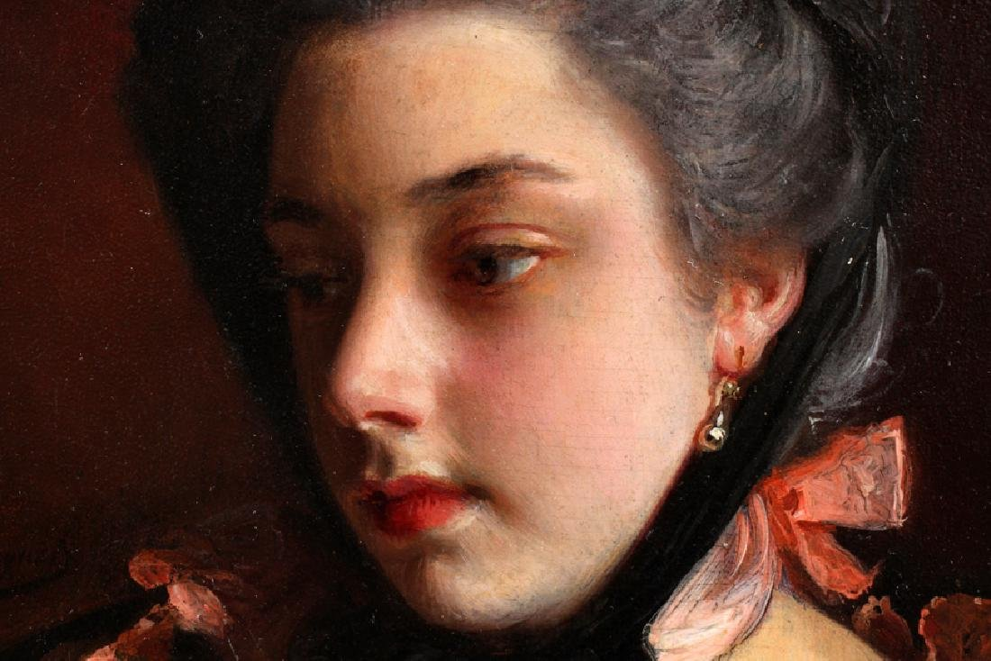 GUSTAVE JEAN JACQUET OIL ON MAHOGANY PANEL - 3
