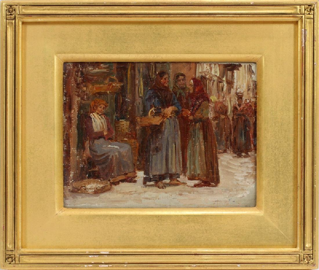 ANNA RICHARDS BREWSTER OIL ON CANVAS MARKET SCENE