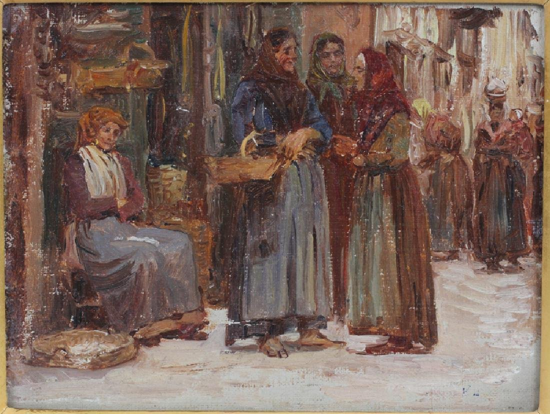 ANNA RICHARDS BREWSTER OIL ON CANVAS MARKET SCENE - 2
