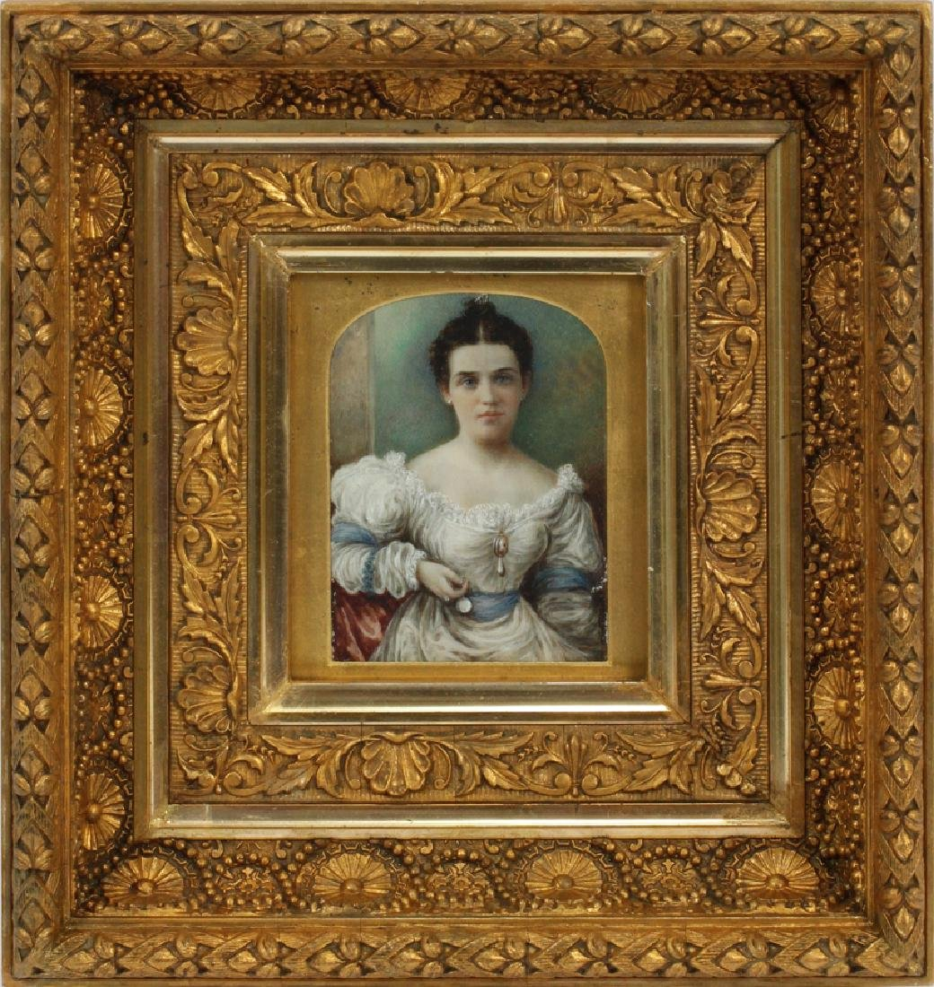 """WATERCOLOR MINIATURE PAINTING 19TH.C. H 5"""" W 4"""""""