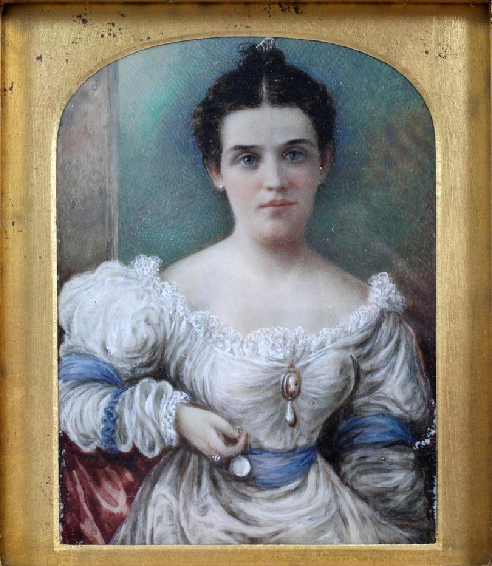 """WATERCOLOR MINIATURE PAINTING 19TH.C. H 5"""" W 4"""" - 2"""