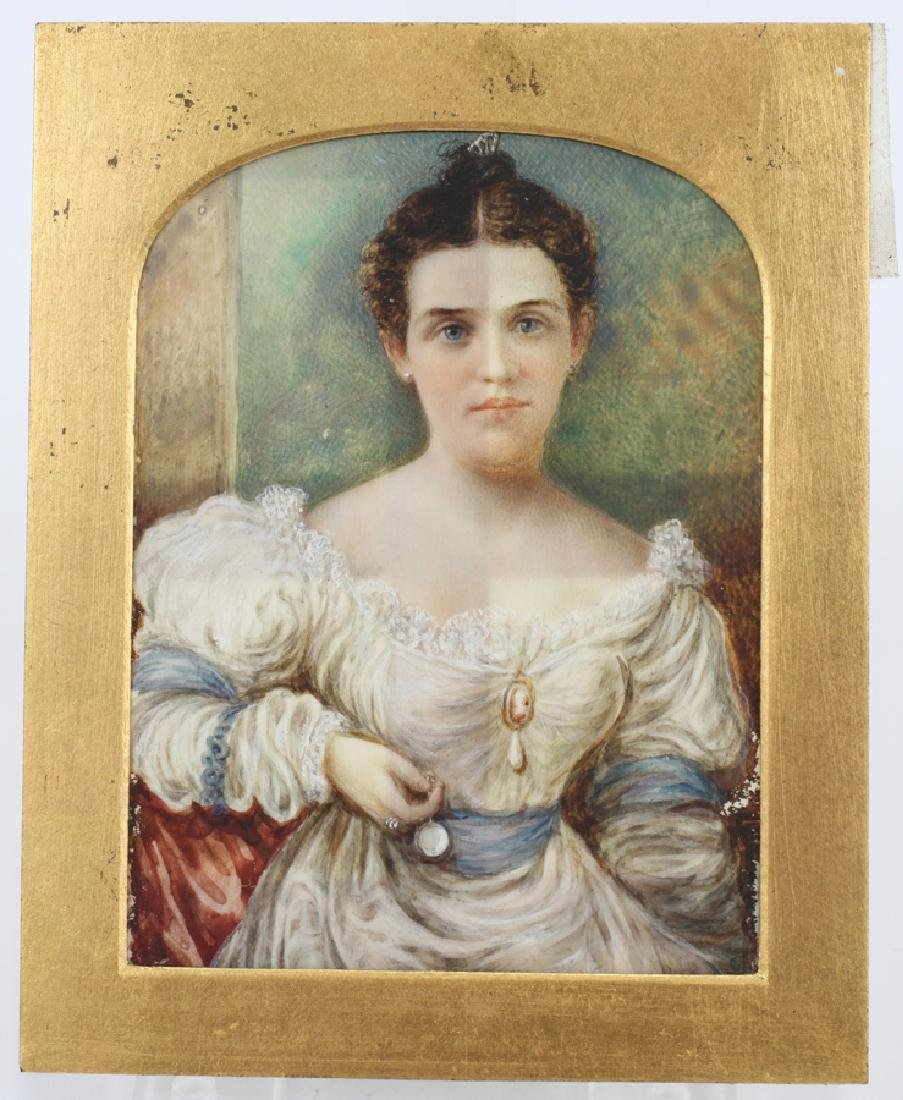 """WATERCOLOR MINIATURE PAINTING 19TH.C. H 5"""" W 4"""" - 4"""
