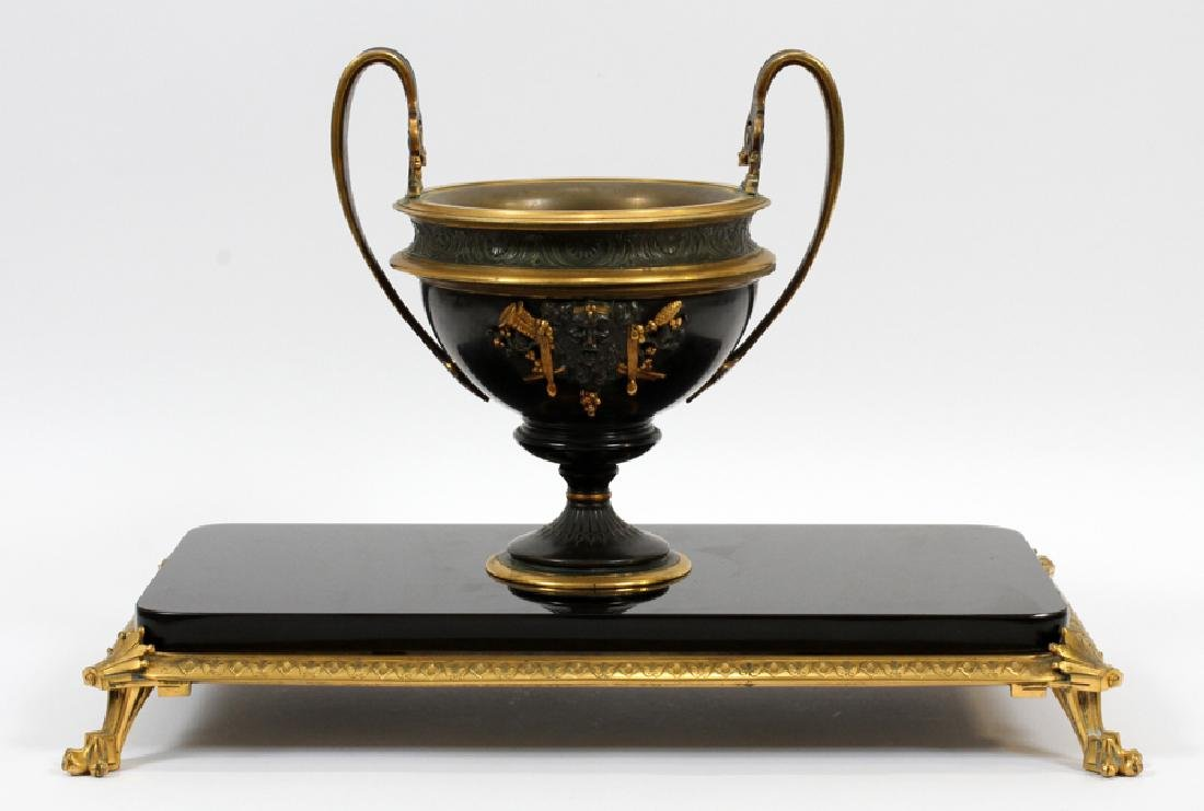 FRENCH STYLE BRONZE & MARBLE COMPOTE
