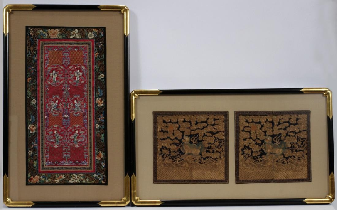 CHINESE EMBROIDERED SILK PANELS, 2 PCS