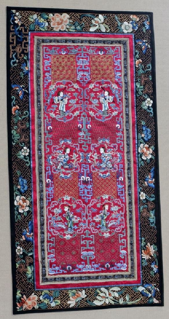CHINESE EMBROIDERED SILK PANELS, 2 PCS - 2