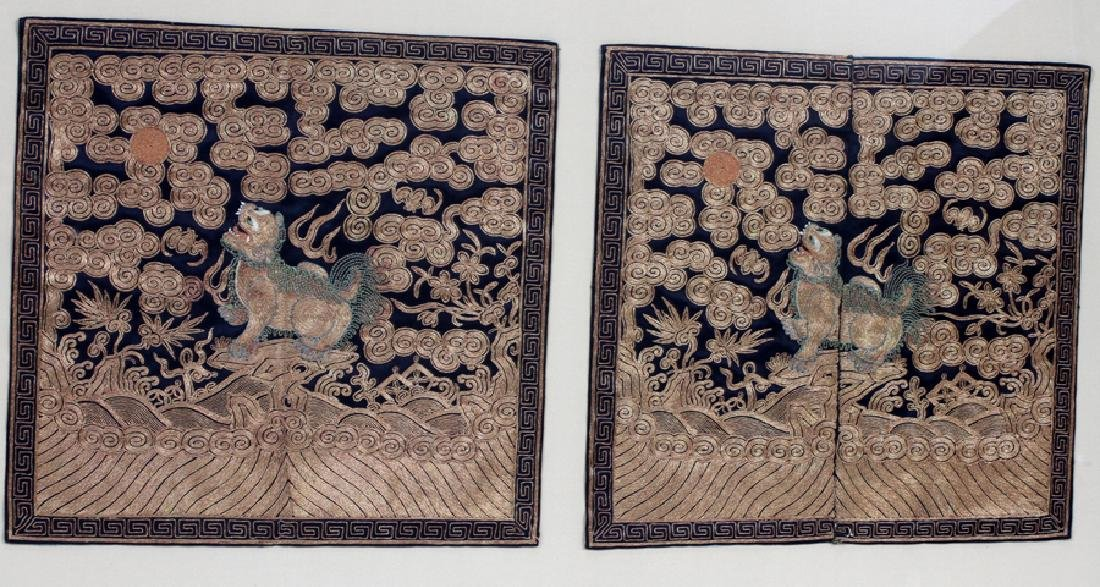 CHINESE EMBROIDERED SILK PANELS, 2 PCS - 3