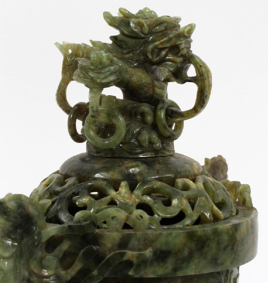 ANTIQUE CHINESE SPINACH JADE COVERED URN - 2