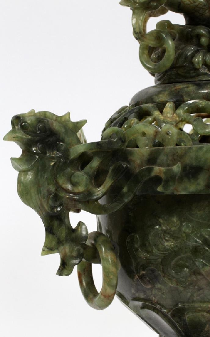 ANTIQUE CHINESE SPINACH JADE COVERED URN - 3