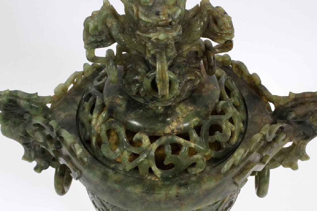 ANTIQUE CHINESE SPINACH JADE COVERED URN - 4