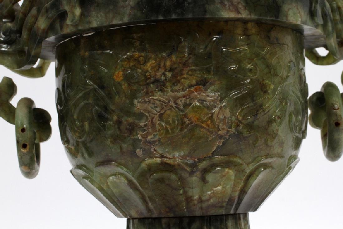 ANTIQUE CHINESE SPINACH JADE COVERED URN - 6