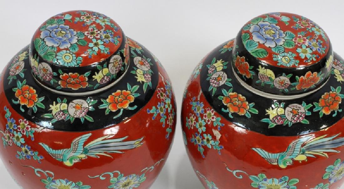 PAIR ANTIQUE CHINESE PORCELAIN GINGER JARS - 4