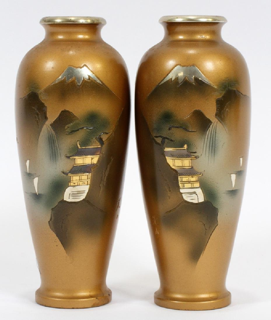 SIGNED JAPANESE BRONZE AND MIXED METAL INLAY VASES