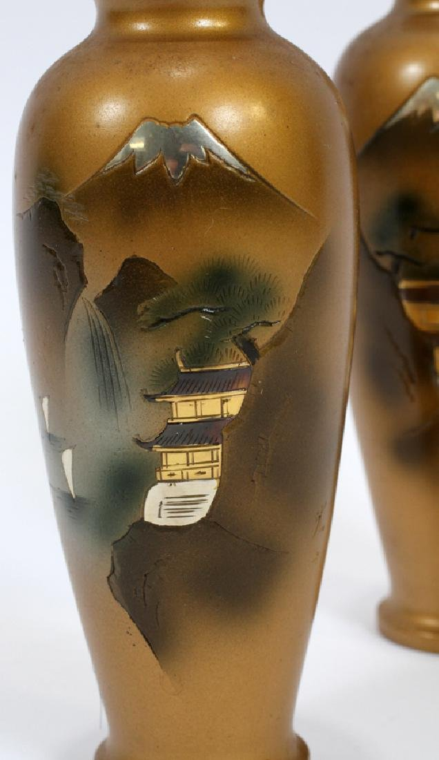 SIGNED JAPANESE BRONZE AND MIXED METAL INLAY VASES - 2