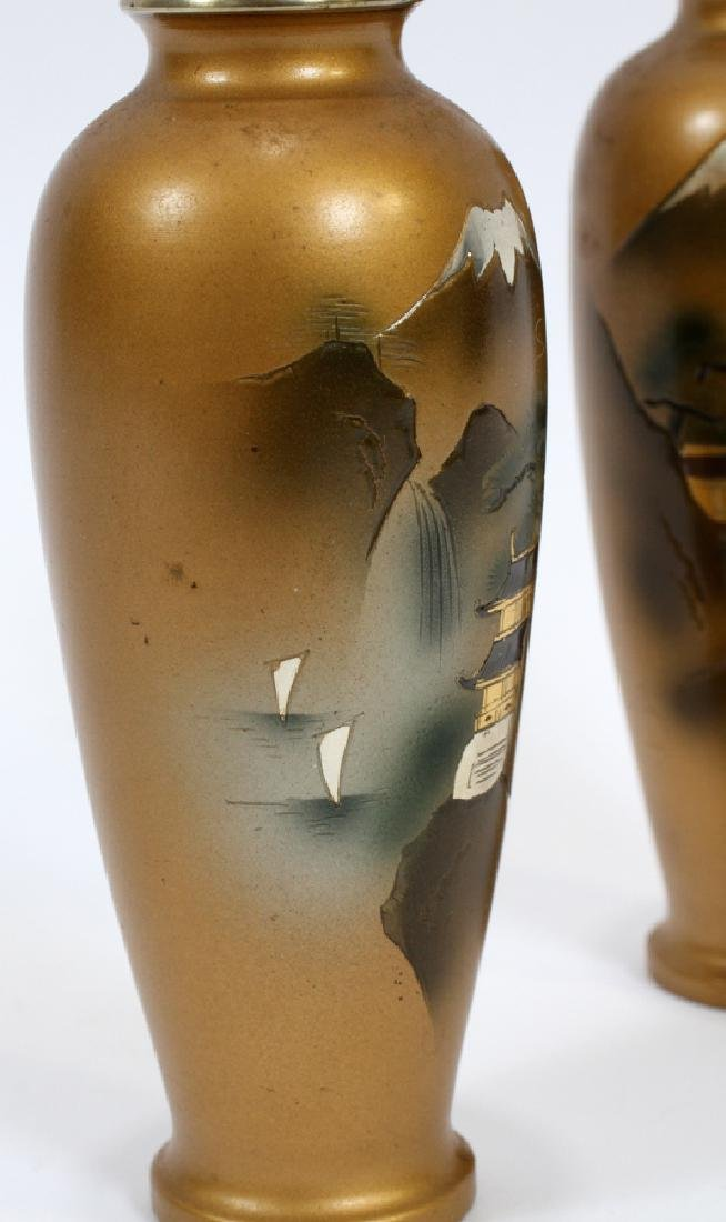 SIGNED JAPANESE BRONZE AND MIXED METAL INLAY VASES - 3