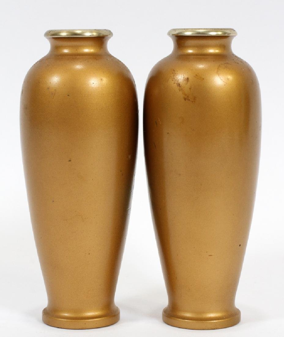 SIGNED JAPANESE BRONZE AND MIXED METAL INLAY VASES - 4