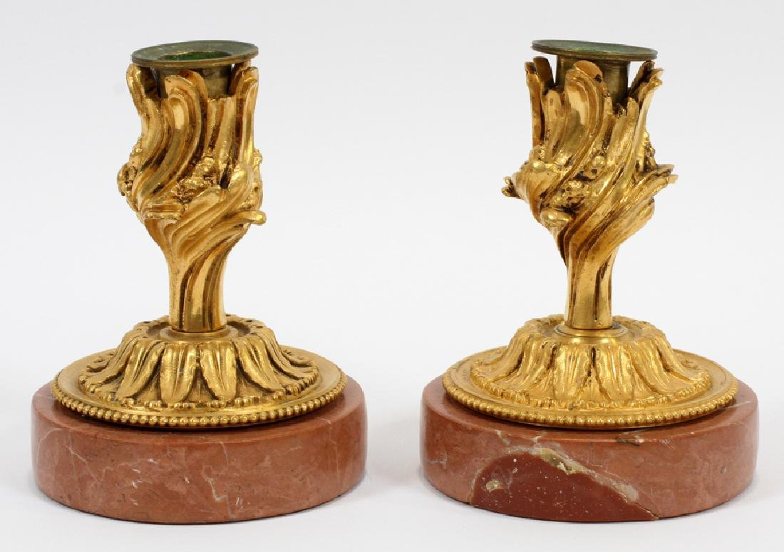 D'ORE BRONZE & MARBLE CANDLESTICK HOLDERS