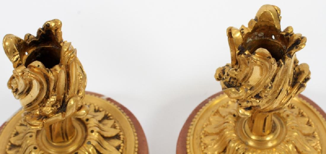 D'ORE BRONZE & MARBLE CANDLESTICK HOLDERS - 2
