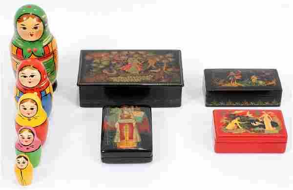 RUSSIAN LACQUER ON PAPER MACHE BOXES