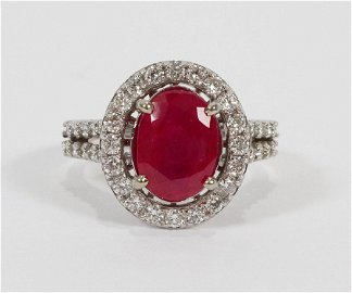 WHITE GOLD, NATURAL RUBY AND 1.00 CT DIAMOND RING