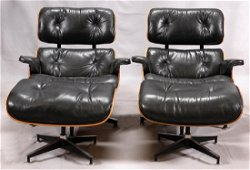 EAMES  BLACK LEATHER LOUNGE CHAIRS AND OTTOMANS